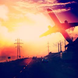 road sunset freetoedit silhouette