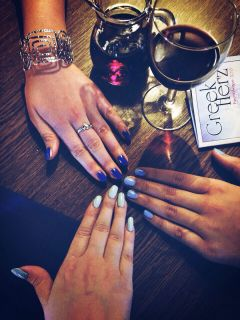 greek dinner nails blue friends