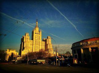 colorful architecture sun sky city
