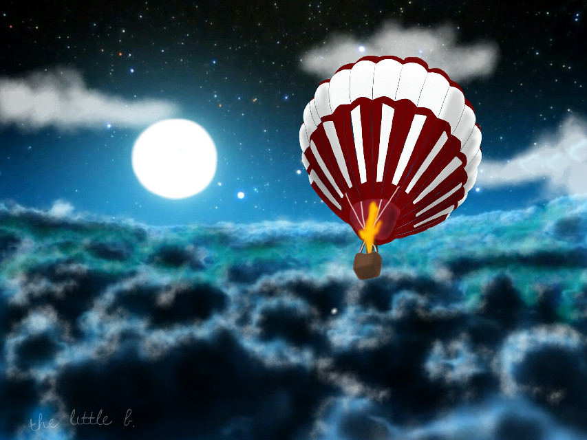 #dcnightsky  First entry for the night sky drawing challenge.  #sky #night #moon #balloon