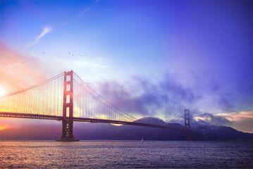 sanfrancisco sunset goldengatebridge sea colorful