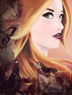 drawing autumn artistic women twilight