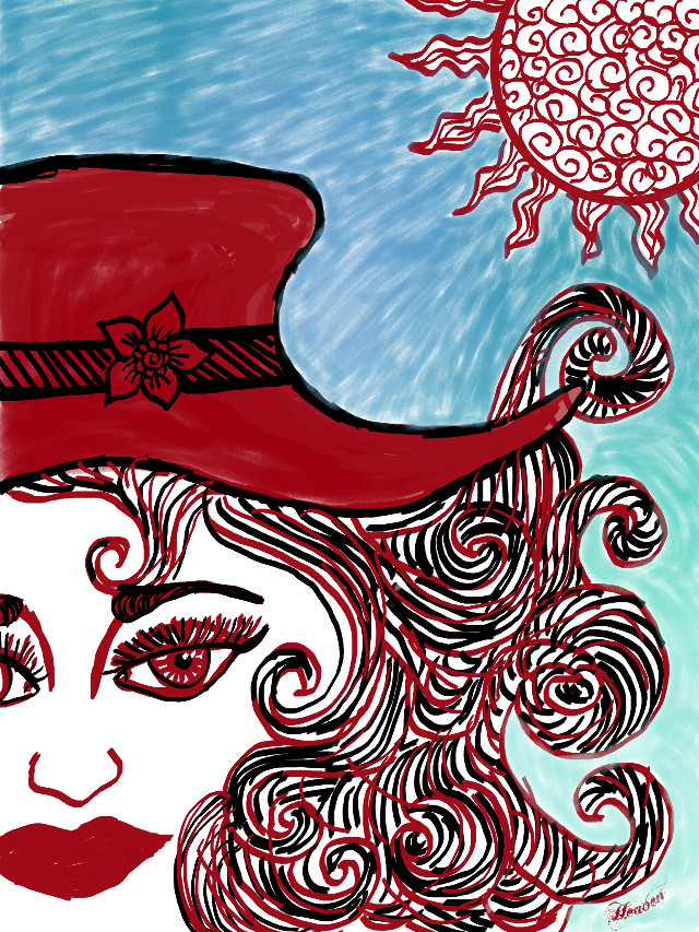 Lady in the red hat  #dcsketch #cute  #sketch #red #lady #people #hat  #red