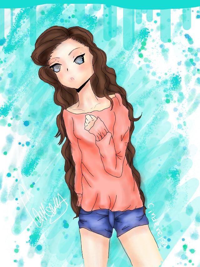 ANIME!!!! Who loves anime cause I know I do!!!   #anime #animegirl  #sweater #teal #green #peach #brown #blue #tango yellow #girl #anime_eyes  #animefan #draw #art #female #artist #drawer #drawing #draws #arts #artist #picsart #yay #pretty