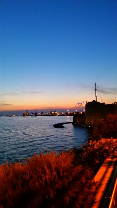 panorama taranto italy sunset castle